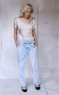 silk tee and denim