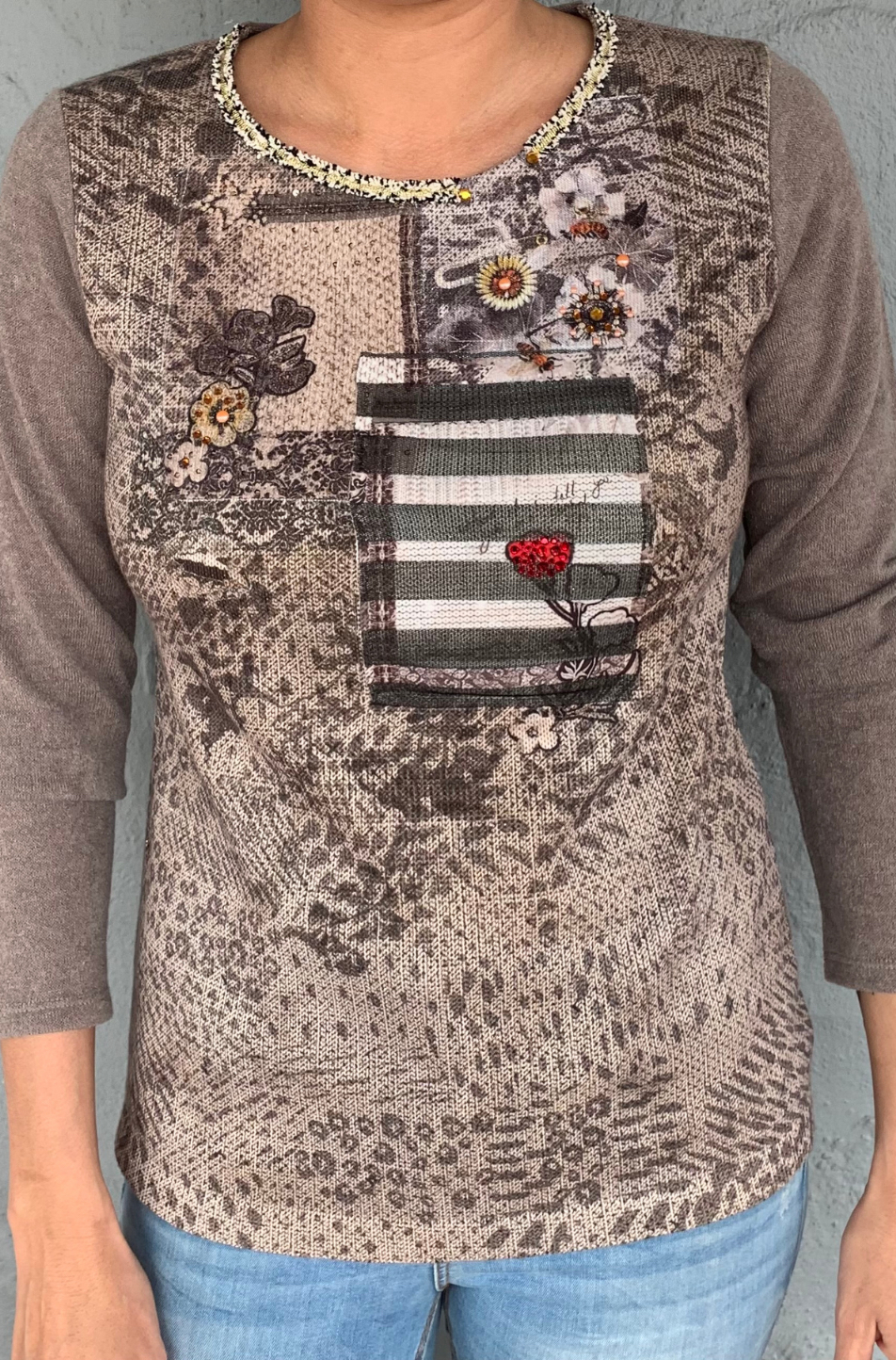 Kalisson Long Sleeved Top (Taupe)